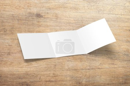 Photo for Brochure mock-up isolated. Hovering blank tri fold paper brochure on background. Mock up opened magazine, journal, booklet, postcard, flyer, business card or brochure. Cover for your design. - Royalty Free Image