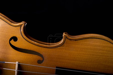 Photo for Violin music instrument of orchestra closeup isolated on black - Royalty Free Image