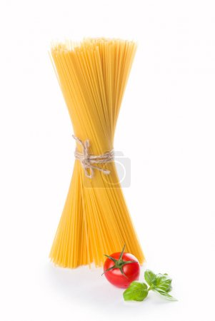 Photo for Spaghetti and basil isolated on white background. With clipping path. - Royalty Free Image