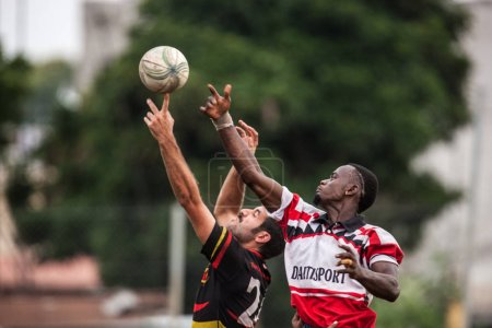 POINTNOIRE/CONGO - 18MAY2013 - Team of amateur friends playing rugby
