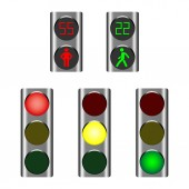 LED traffic lights showing red amber or green lights for drivers and pedestrian lights red and green