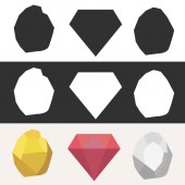 Colorful cartoon diamonds icons vector set