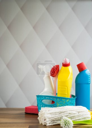 Photo for Home cleaning concept. Various Cleaning Products, place for typography - Royalty Free Image
