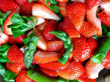 Photo for Strawberry and asparagus salad, healthy food concept - Royalty Free Image
