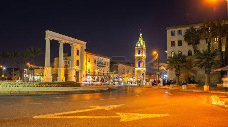 Jaffa clock tower town square at night