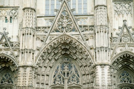 splendid exterior of old Gothic cathedral