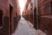 old alley in historic medina in marrakesh, morocco