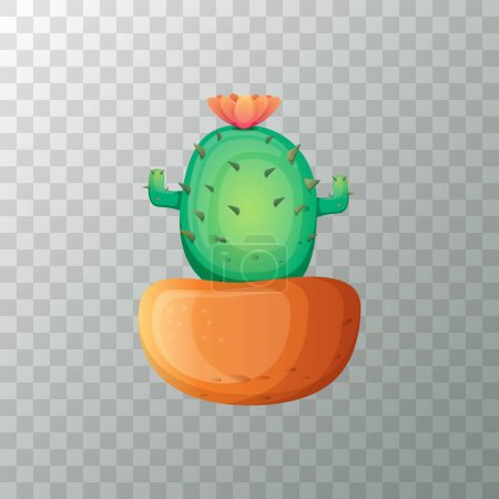 Illustration for Vector cartoon funny and cute green cactus in pot on transparent background. funny houseplant icon - Royalty Free Image