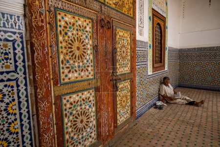 Photo for The interior of the mosque and man on floor - Royalty Free Image