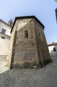 Oggiono, Lecco, Lombardy, Italy: the Sant'Eufemia church, in baroque style, and the baptistery of San Giovanni Battista, in Romanesque style (11th century)