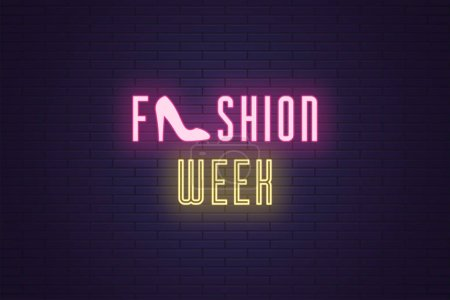 Photo for Neon composition of headline Fashion Week. Vector illustration of glowing Neon text Fashion Week with Woman shoe. Bright digital signboard for Glamour industry. Pink and yellow color - Royalty Free Image