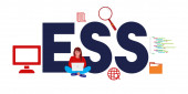 ESS Employee Self Service or executive spreadsheet support concept of software or system for human resource service