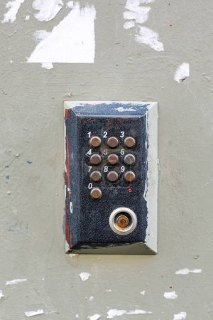 Photo for Old vintage intercom doorbell on apartment building doors. - Royalty Free Image