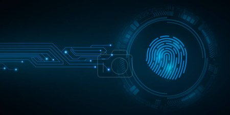 Photo pour High-tech fingerprint for computer system security with HUD interface elements. Scan for padlock. Computer circuit board. Abstract blue cyber circle. Vector illustration. EPS 10. - image libre de droit