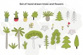Set of hand drawn cartoon trees cacti and plants Vector floral illustration