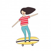 Girl rides around the city on a skateboard Vector illustration