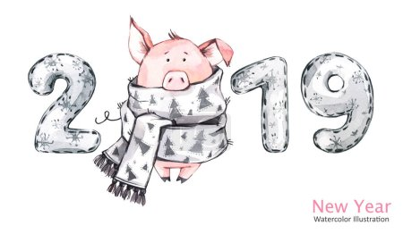 2019 Happy New Year banner. Cute pig in winter scarf with numbers. Watercolor illustration. Symbol of winter holidays. Zodiac sign. Perfect for calendar and celebration card.