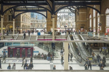 London Great Britain, October 14 2017, Waterloo Central Station, Nice architecture and many people traveling