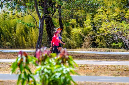 Photo for People doing sport and resting in city park, Brazil - Royalty Free Image