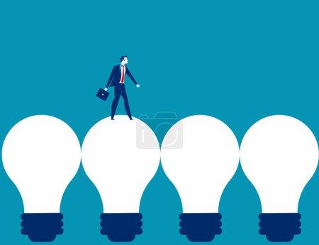 Businessman walking on light bulb. Concept business vector illustration.