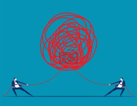 Illustration pour Les gens d'affaires tirant à la corde enchevêtrée dans des directions opposées. Illustration vectorielle métier concept . - image libre de droit