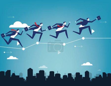 Equipe d'affaires équilibrage sur le business chart. Concept entreprise succ