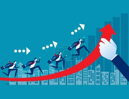 Équipe avec croissance des affaires. Concept business vector, Chemin vers la succion