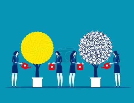 Attentes avec profit. Concept business vector, Travail d'équipe, Succès