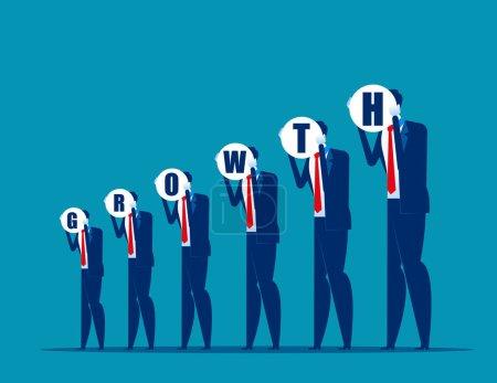 Les gens d'affaires montrent un graphique de croissance. Concept business vector, Succ