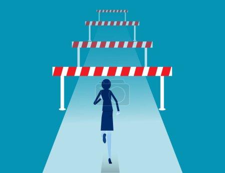 Stellen Sie sich vielen Hindernissen. Hindernisse auf dem Weg zum Erfolgskonzept. Flacher Vektor Cartoon-Stil