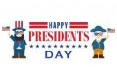 Flat design Cute Cartoon Abraham Lincoln and George Washington President's Day