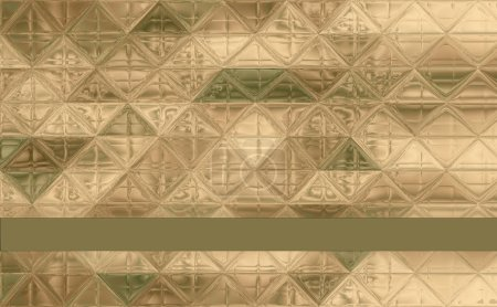 Photo for Pretty triangle camouflage pattern green, khaki, brown, ivory with ribbon and trim for text - Royalty Free Image