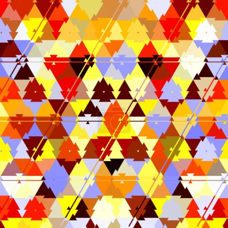 Photo for Triangle camouflage rainbow pattern, effect leafs, sand, in red, orange, yellow, ehite, brown, sunny colors - Royalty Free Image