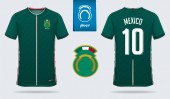 Soccer jersey or football kit template design for Mexico national football team Front and back view soccer uniform Football t shirt mock up Vector Illustration