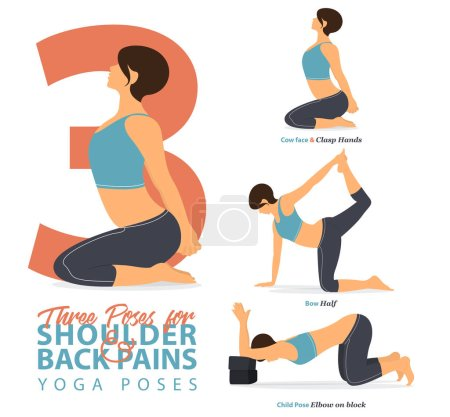 Illustration for A set of yoga postures female figures for Infographic 3 Yoga poses for relief lower shoulder and back pain in flat design. Woman figures exercise in blue sportswear and black yoga pant. Vector Illustration. - Royalty Free Image