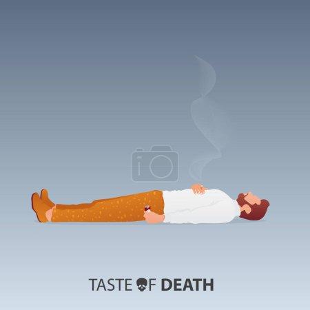 Illustration pour 31 mai Journée mondiale sans tabac. Journée sans tabac sensibilisation. Arrêtez de fumer Campagne. Le concept de mort du fumeur. L'homme couché sur le sol, froissé le paquet de cigarettes dans la main gauche et tenir la cigarette dans la main droite. Illustration vectorielle . - image libre de droit