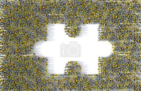 Photo pour Grand groupe de personnes formant une pièce de puzzle manquante, illustration 3D - image libre de droit
