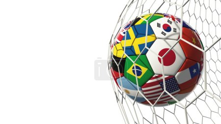Soccer football with country flags isolated on white background in goal. World championship. 3d illustration.