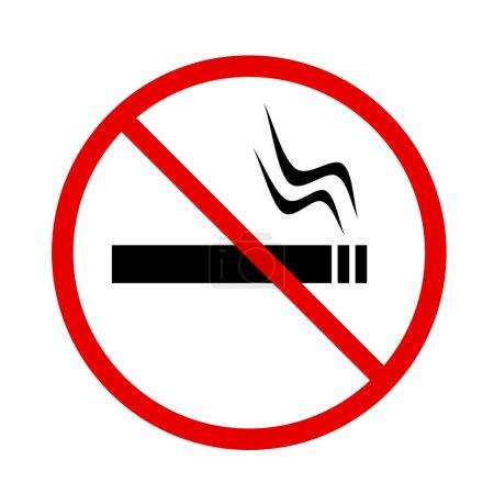 Photo pour Aucun signe de fumer dans le cercle rouge interdiction isolé sur fond blanc, illustration - image libre de droit