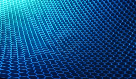 Photo for Digital data and network connection hexagon shape in technology concept on blue background, 3d structure abstract illustration - Royalty Free Image