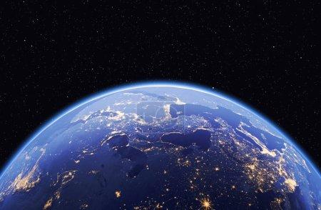 Photo pour Planète terre aux étoiles, le modèle global isolé sur fond noir. Éléments de cette image fournie par la Nasa - image libre de droit