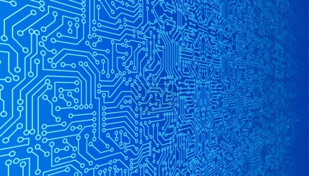 Photo for Blue circuit board pattern texture. High-tech background in digital computer technology concept. 3d abstract illustration. - Royalty Free Image