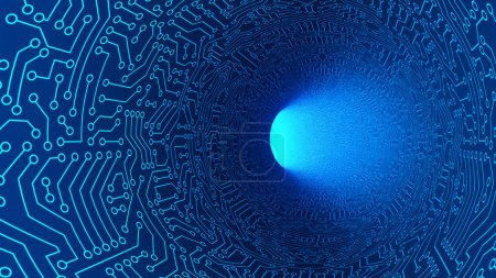 Photo for Blue tunnel in highway with circuit board pattern texture. High-tech background in digital computer technology concept, moving toward the light. 3d abstract illustration - Royalty Free Image