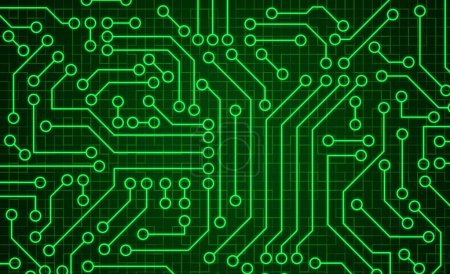 Photo for Green circuit board pattern texture. High-tech background in digital computer technology concept. Abstract illustration. - Royalty Free Image