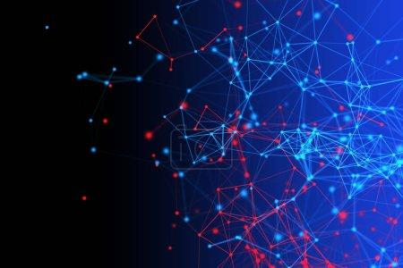 Foto de Datos digitales rojos y azules y líneas de la red conexión triángulo y esferas en el concepto de tecnología sobre fondo negro, 3d Resumen ilustración - Imagen libre de derechos