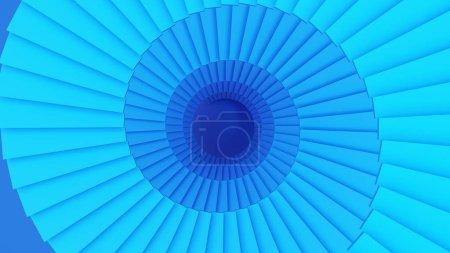 Foto de Estructura de escalera de caracol azul o túnel en el concepto de tecnología de información digital. 3D Resumen ilustración. - Imagen libre de derechos