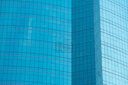 Photo for Windows of blue modern office skyscraper building. Architecture in smart technology concept. Abstract design background - Royalty Free Image