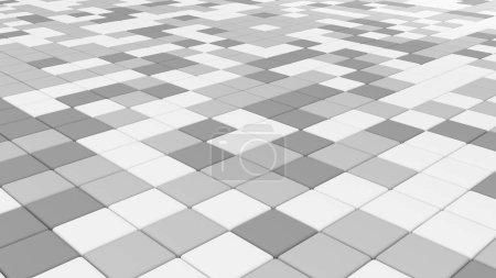 Photo pour Carrelage blanc, plancher, fond texture architecture, 3d illustration abstraite - image libre de droit