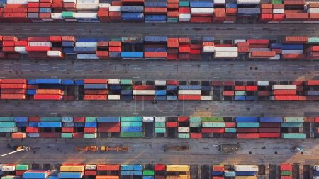 Photo for Aerial top view of container cargo ship in the export and import business and logistics international goods in urban city. Shipping cargo to the harbor by crane. - Royalty Free Image
