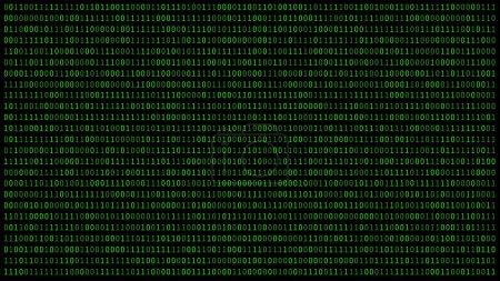 Photo pour 01 ou numéros binaires sur l'écran de l'ordinateur sur écran noir métrique d'arrière-plan, Code de données numériques en pirate ou concept de technologie de sécurité. Illustration synthétique - image libre de droit